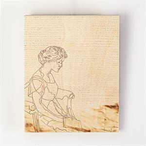 Je redeviendrai femme-amphibie, pyrogravure panneau de bois