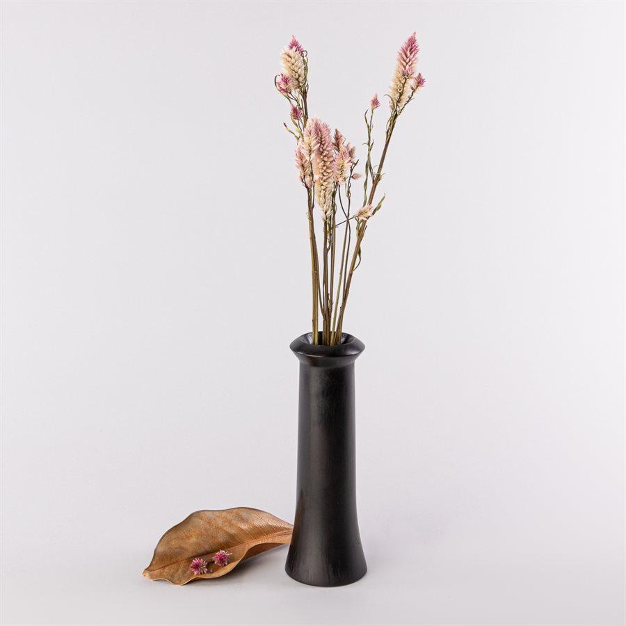 Vase soliflore en pin sculpté, avec insert de verre