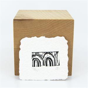 Petites portes, linogravure sur papier fait main, non-encadré