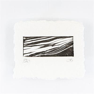 Jusqu'au bord, linogravure sur papier fait main, non encadré
