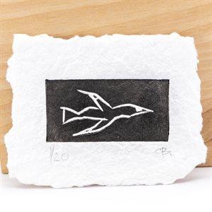 CORMORAN, linogravure sur papier fait main, non encadrée