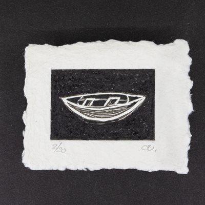 Bateau, linogravure sur papier fait main, non encadrée