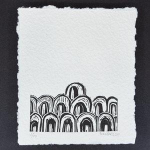 MONSIEUR K, linogravure sur papier fait main, non encadrée