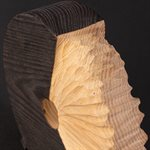 Destin, sculpture triptyque autoportante, érable brûlé
