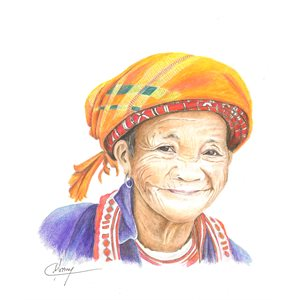 Pretty grandmother, pastel portrait and ink, unframed