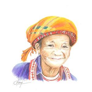 Jolie grand-mère, portrait pastel et encre, non-encadré