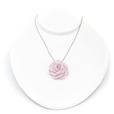 Rose en verre sur chaine inox