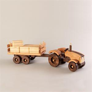 Jouet Tracteur avec sa remorque en bois