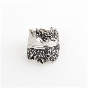Silver bird feather ring, model 2 oxidized finish