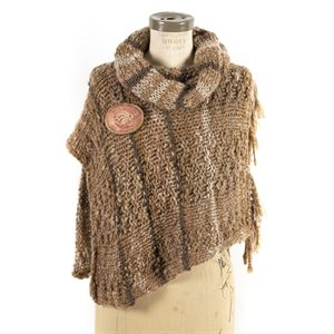 Hand knitted shawl made of alpaca wool and wooden button
