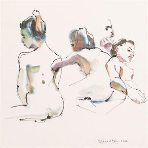 Aphrodite #8, encre et aquarelle, papier marouflé sur toile