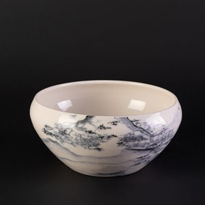 Porcelain bowl decorated with Chinese ink, large format