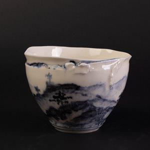 Bol en porcelaine décoré façon encre de chine, petit format