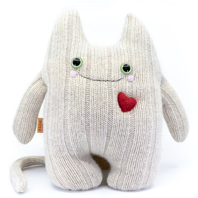 Toutou chat oreiller 100% laine