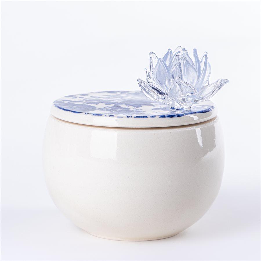 Boîte à secret en céramique et ornement de verre