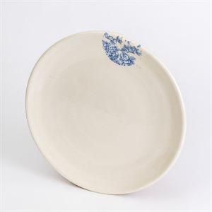 Assiette repas, Glitch, céramique, décalque citronnier bleu