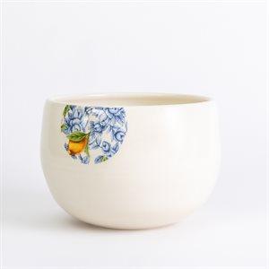 Grand bol repas glitch en céramique et décalque citron