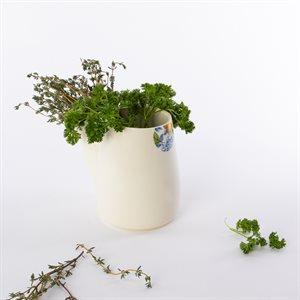 Pot à fines herbes Glitch, céramique et décalque citron
