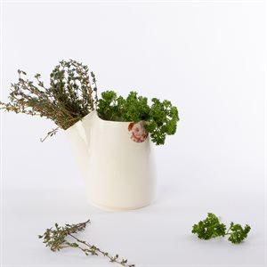 Pot à fines herbes Glitch, céramique et décalque rose sépia