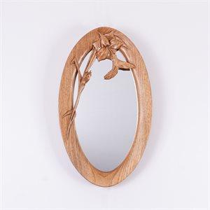 Miroir ovale en bois sculpté, modèle Colibri