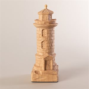 Carved wooden miniature pillar lighthouse, small model