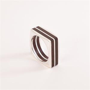 Bague en bois satiné rubané et en argent, modèle carré double, 2.5 mm
