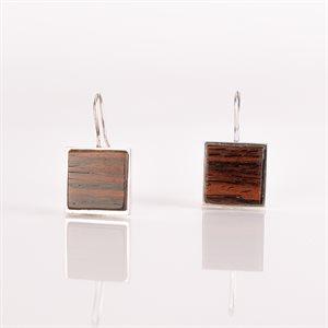 Boucle d'oreille à crochet, argent et bois, carrée, 15 mm