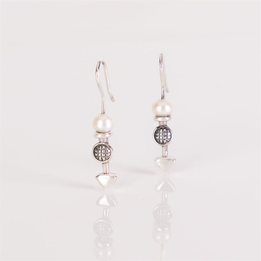 Boucle d'oreille argent sterling avec perle blanche