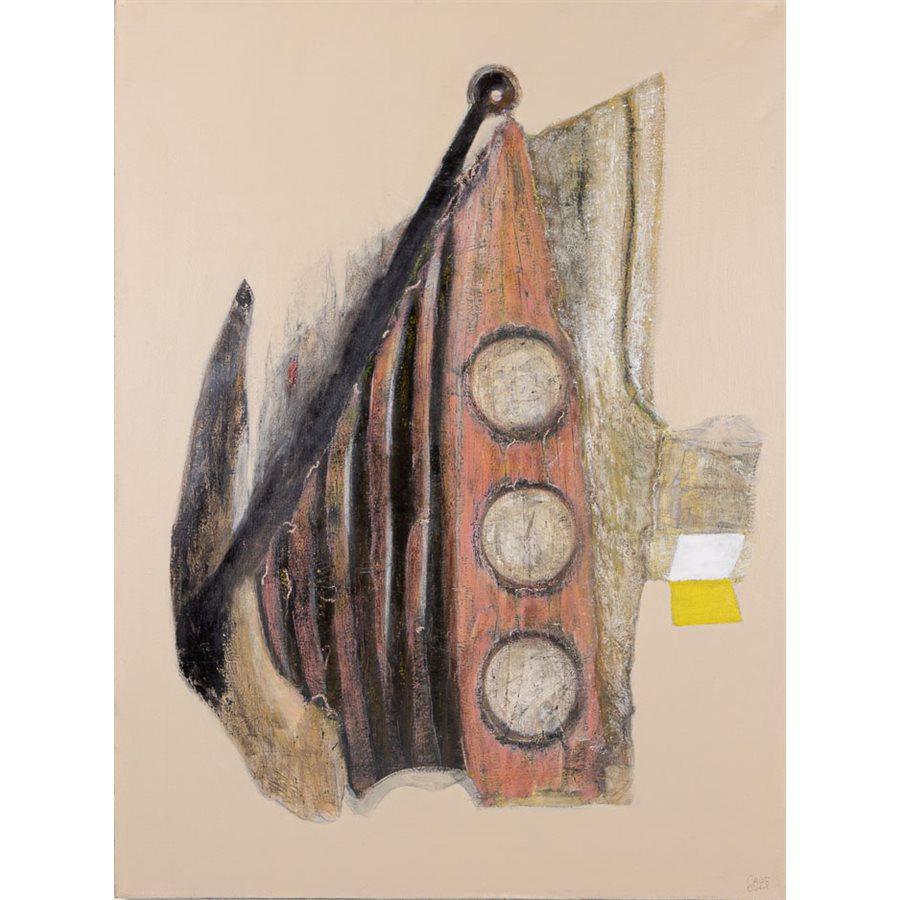 Toujours debout, acrylique encre crayon et collage sur toile