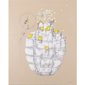 Grenade de la paix, acrylique encre crayon collage sur toile