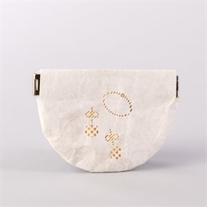 Portemonnaie en tyvek, modèle bijoux, blanc et or