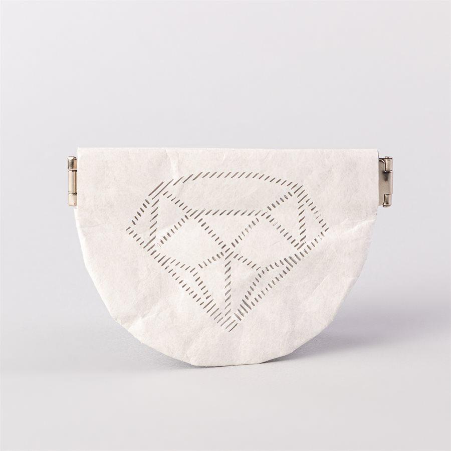 Portemonnaie en tyvek, modèle diamant, blanc et gris