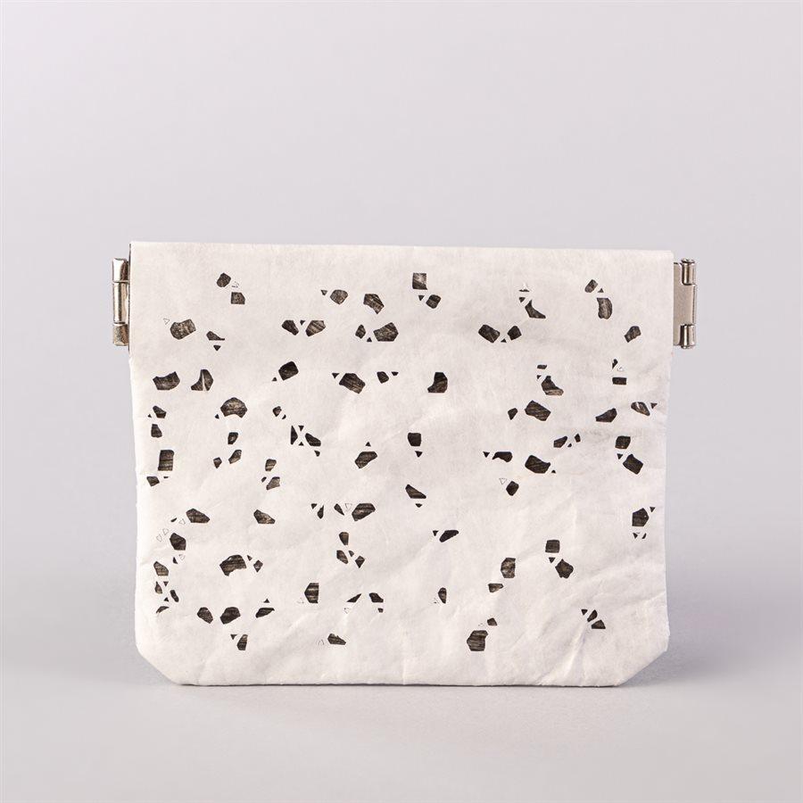 Portemonnaie en tyvek, modèle flocon, blanc et gris