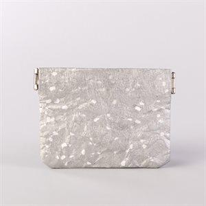 Portemonnaie en tyvek, modèle flocon, argent et blanc