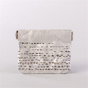Portemonnaie en tyvek, modèle demi-lune, argent et gris
