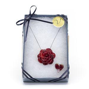 Ensemble cadeaux - Rose et coeur en verre