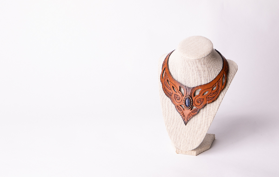 Professional photo of a handmade leather collar
